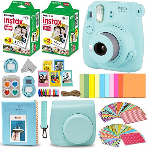 Fujifilm Instax Mini 9 Instant Camera ICE BLUE + Fuji INSTAX Film (40 Sheets) + Accessories Kit Bundle + Custom Case with Strap + Assorted Frames + Photo Album + 60 Colorful Sticker Frames + MORE
