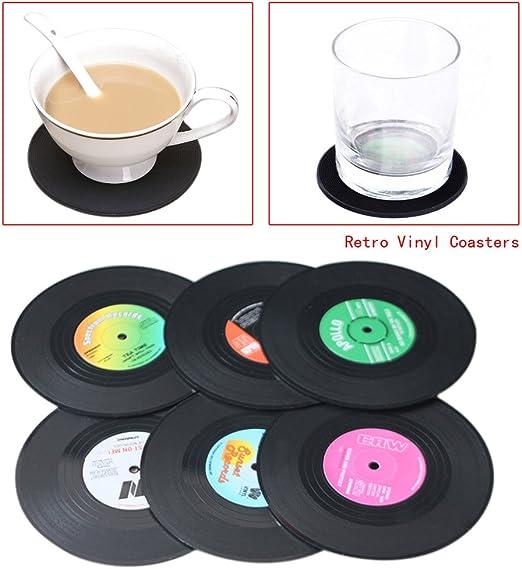 Compra ebilun nueva 6pcs Spinning Hat Retro Vinyl Record juego de posavasos de Novelty Copa Mats CD Record estilo café bebida copa Mat silicona Posavasos en Amazon.es