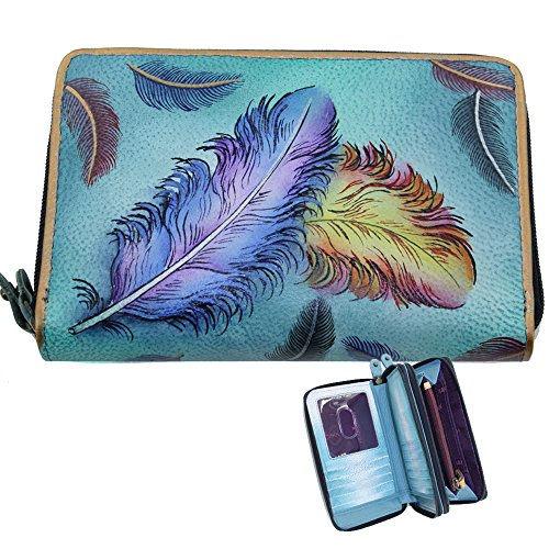 anuschka-twin-zip-around-organizer-wallet-hand-painted-leather-floating-feathers