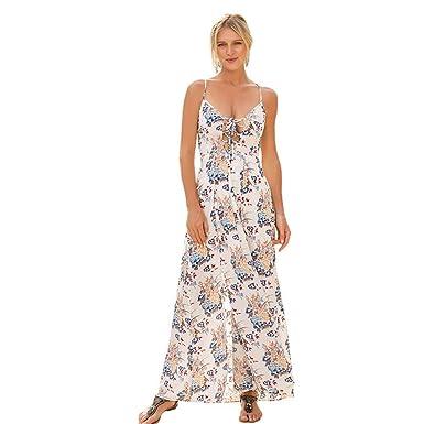 6717ed2641 EFINNY Women s Sexy Floral Lace up V Neck Beach Maxi Dress Split Backless  Party Wedding Dress