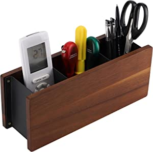 Wood Remote Control Holder - Office/Home/Hotel Desk Organizer Rack 3 Spacious Compartments Fits TV Remotes, Media Controllers, Office Supplies, Makeup Brush