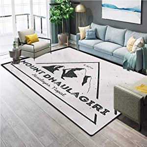 Nepal Runner Rug for Hallway Home Area Rugs Dhaulagiri Mountain in Himalayas Climbing Tourism Themed Extreme Sports Image Office Chair mat for Carpet Grey Charcoal Grey 6.5 x 9.8 Ft