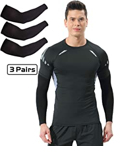 Newbyinn Arm Sleeves for Men Women 3 Pairs/ 5 Pairs, Cooling Sun Sleeves to Cover Arms, Prefect for Cycling Driving Golf Running