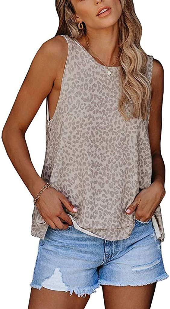 Rishine Leopard Print Tops for Women Camouflage Print Scoop Neck Short Sleeve Ladies Tank Tops