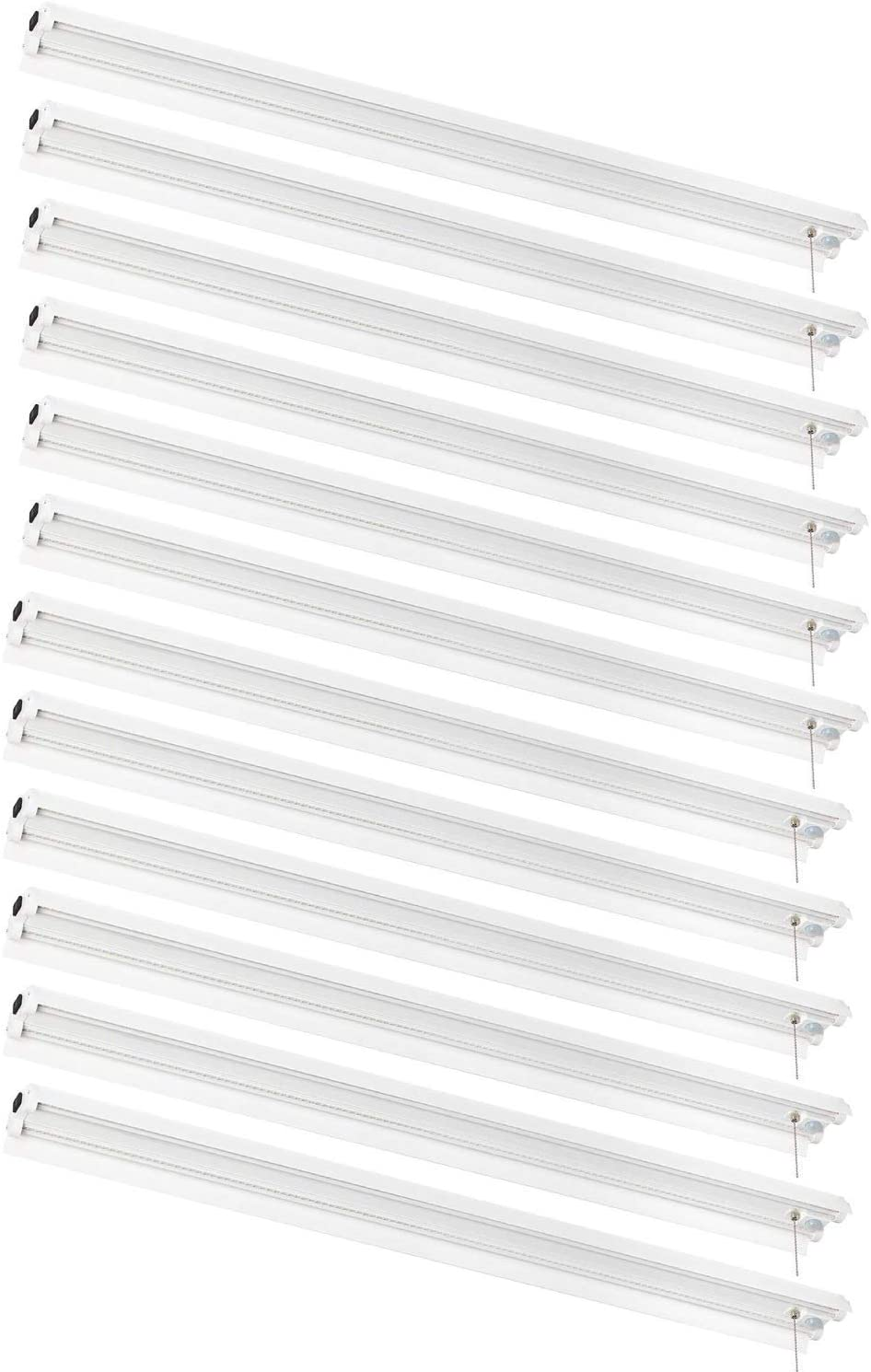 AmazonCommercial Linkable Motion Sensing LED Utility Shop Light with Bypass Switch, 4-Foot, 4500 Lumens, 40 Watt, Energy Star and ETL Certified | Cool White, 12-Pack