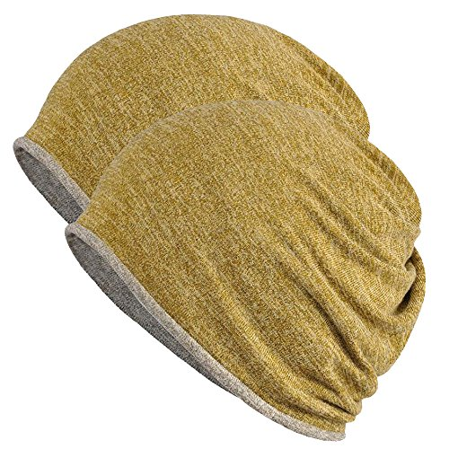 - FORTREE 2 Pack Multifunction Slouchy Beanie for Jogging, Cycling (Yellow & Grey)
