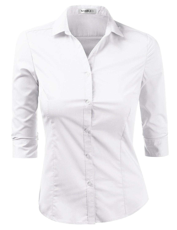 Doublju Womens Slim Fit Plus Size Business Casual 3/4 Sleeve Button Down Dress Shirt White 2XL