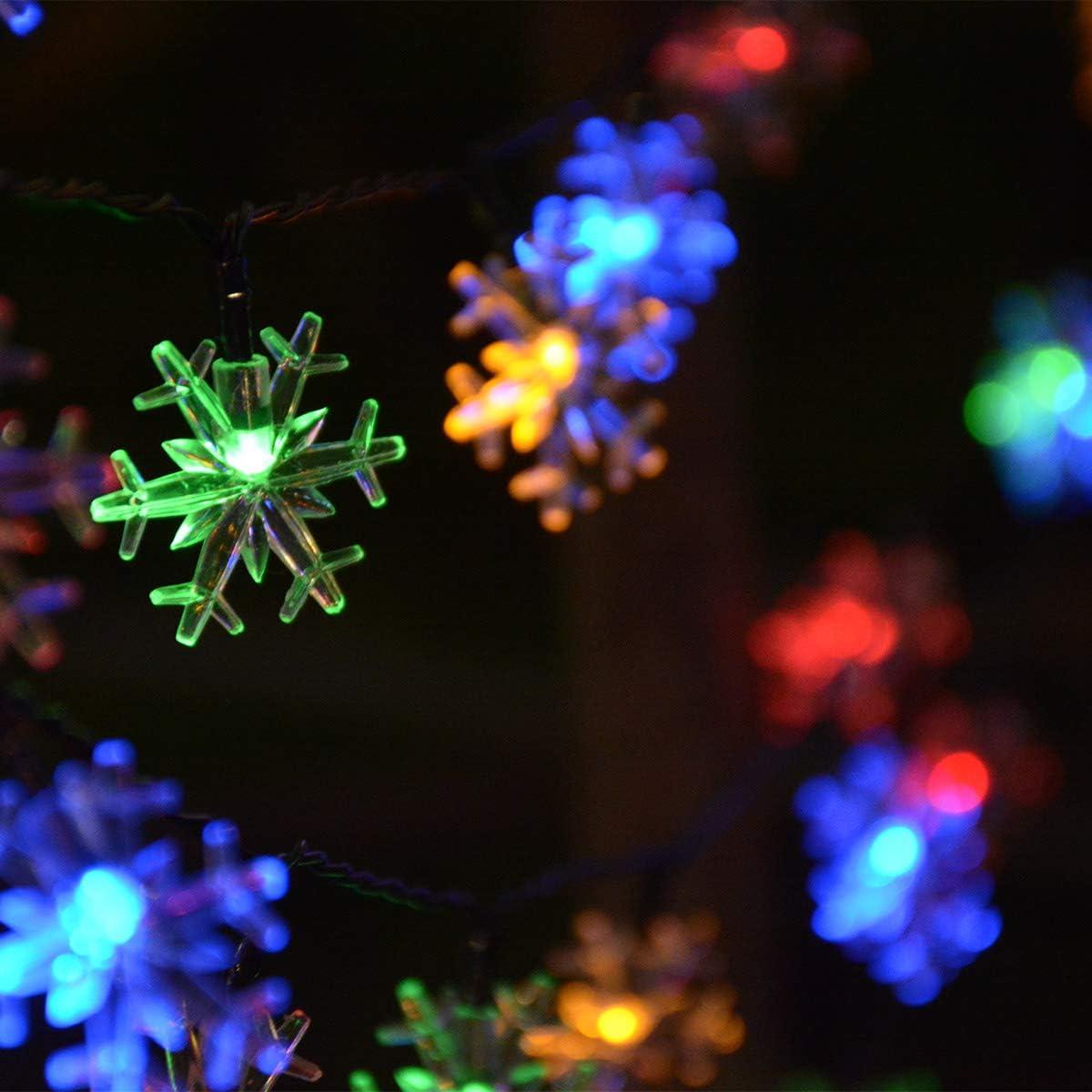 Chasgo 30Ft 50 LED Solar Snowflake Lights Multicolored, Waterproof Solar Snowflake Christmas String Lights for Christmas Tree, Yard, Patio, Garden Decor