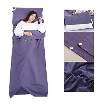 Saco de Dormir Liner,cabaña Saco de Dormir Saco de Dormir Saco de Dormir con Bolsa Ideal para Interior hostels Cabañas albergues Camping Exterior (Azul): ...