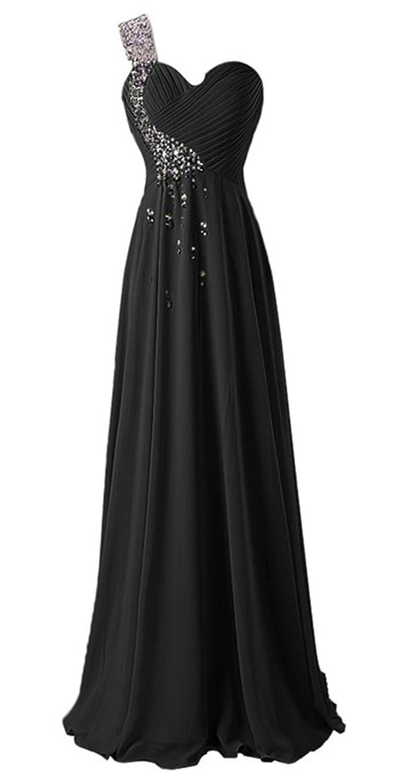HelloGirls Ruffles One Shoulder Evening Party Formal Prom Dress Beaded Empire Long Chiffon Dress
