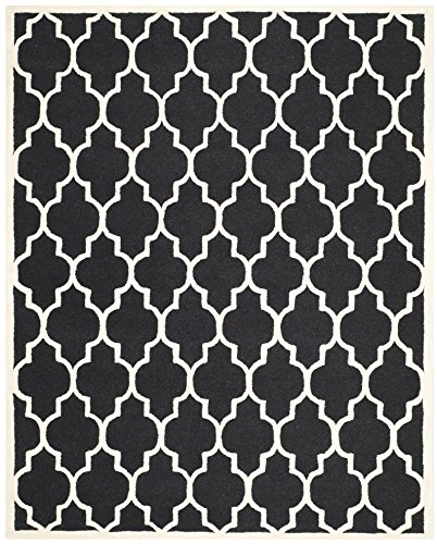 Safavieh Cambridge Collection CAM134E Handcrafted Moroccan Geometric Black and Ivory Premium Wool Area Rug (8' x 10')