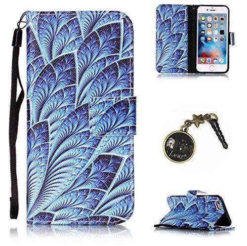 Para Smartphone Apple Iphone 6(4.7pulgadas) funda de piel para Apple iPhone 6(4.7pulgadas) Flip Cover Funda Libro Con Tarjetero Función Atril magnético + Polvo Conector azul 1 6
