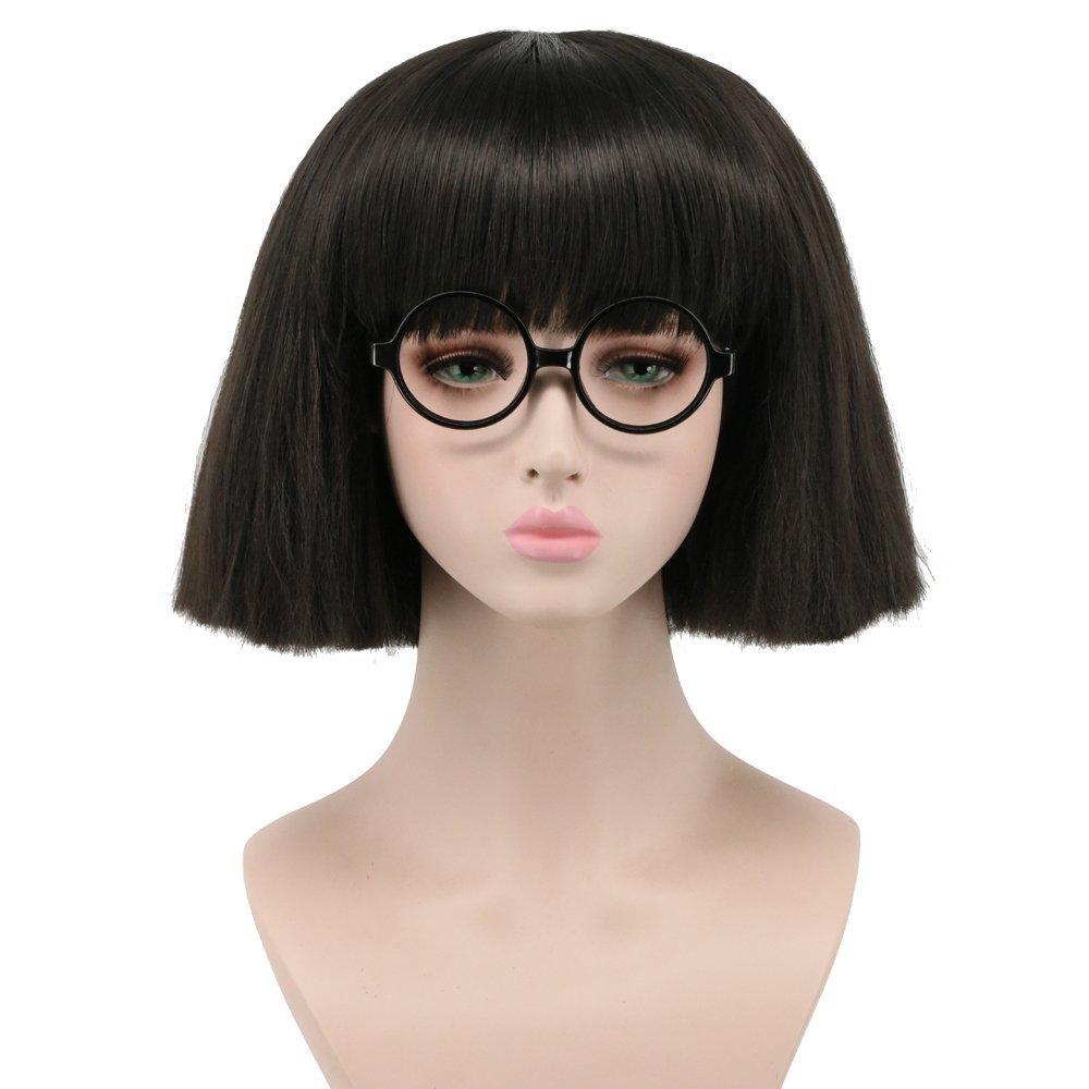 Yuehong Short Black Bob Wig High Temperature Fiber Women Fashion Party Hair Wig (Black)