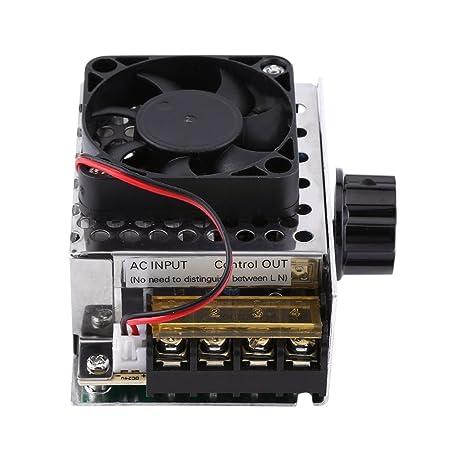 AC 220V 4000W SCR Regulador de Voltaje Eléctrico Módulo de Estabilizador de Voltaje Transformador de Voltaje con Ventilador: Amazon.es: Bricolaje y ...