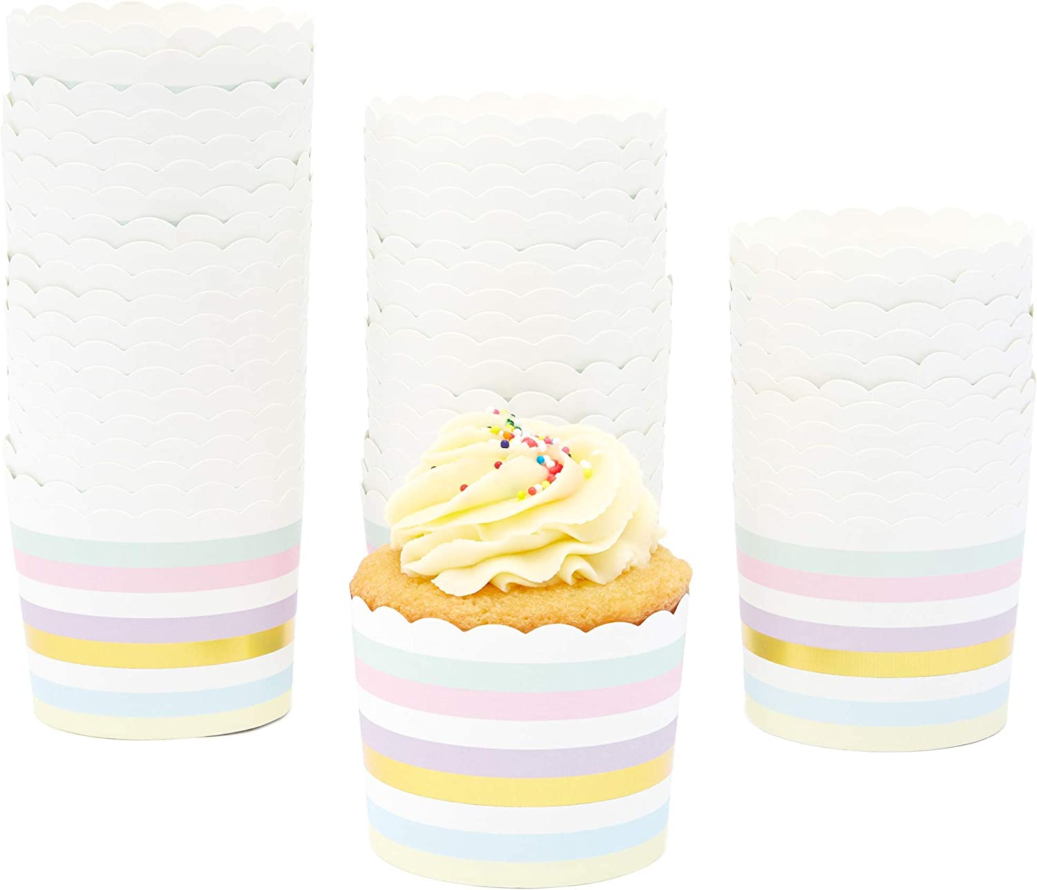 Floral Watercolor Cupcake Wrappers Paper Baking Cups 50-Pack Muffin Liners