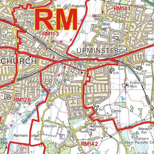 RM Postcode Wall Map Romford 47 x 33.25 Paper