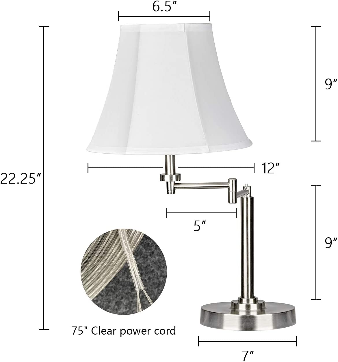 Motini 22 Modern Table Lamp With Swing Arm Adjustable Desk Lamp For Living Room Bedside Lamp Brushed Nickel Finish Amazon Com