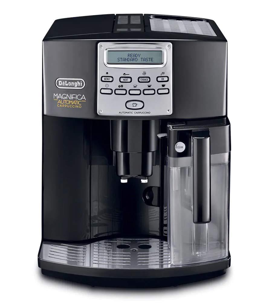 Delonghi super-automatic espresso coffee machine with an adjustable grinder, double boiler, milk frother, maker for brewing espresso, cappuccino, latte, macchiato. ESAM3550 Magnifica