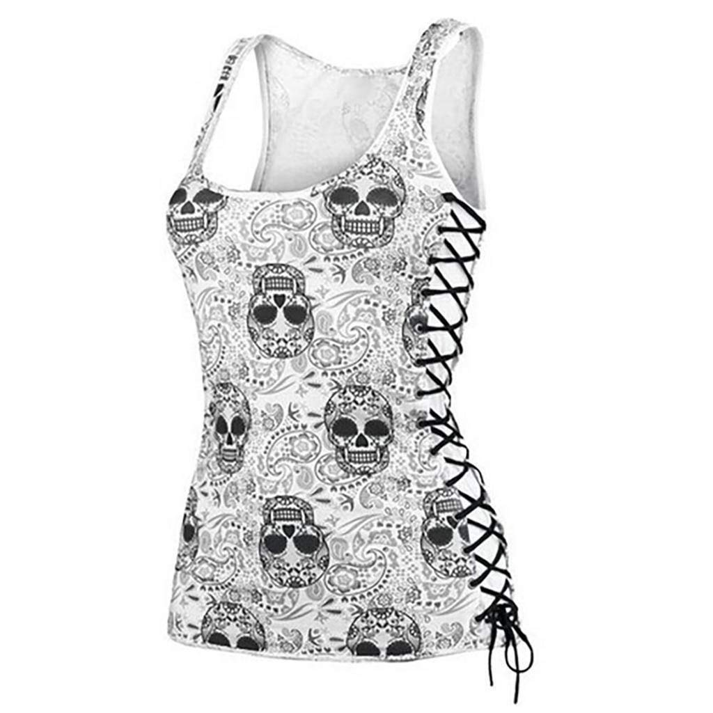 Skull Papel Picado Print Tees Tops for Women Sleeveless Pullover Casual Blouse Lace-Up Low-Cut Boat Neck Tank Tops S-5XL