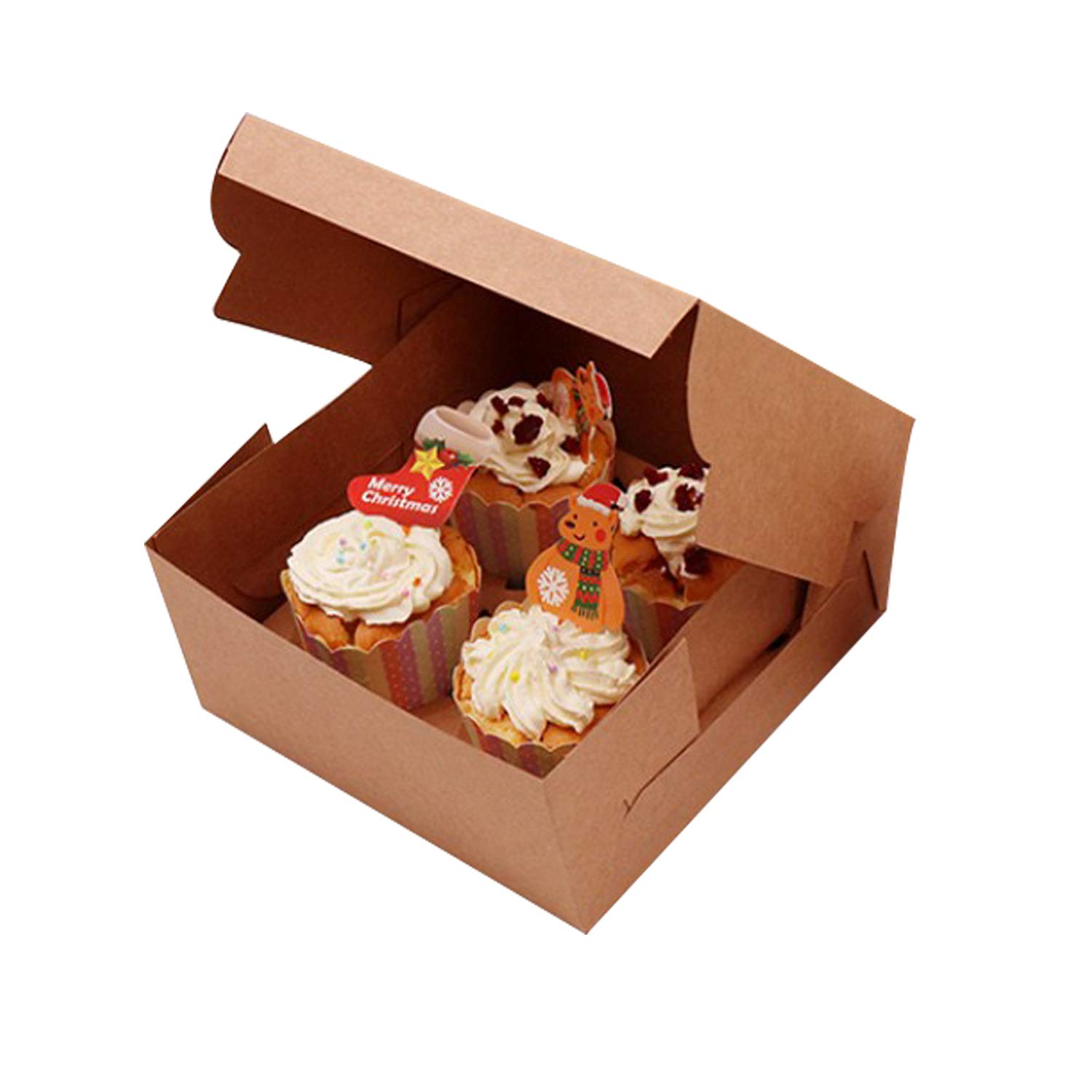 15 Pack Prudance Cake Boxes with Window 6 x 6 x 3 inch for Wedding Birthday Party Cupcake Boxes Individual Bakery Box for Cookies White