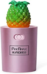 Jomore Mini Pineapple Ultrasonic Cool Mist Humidifier USB Portable Air Humidifiers Purifier for Cars Office Desk Home Babies kids Bedroom,130ML (Rose Gold)