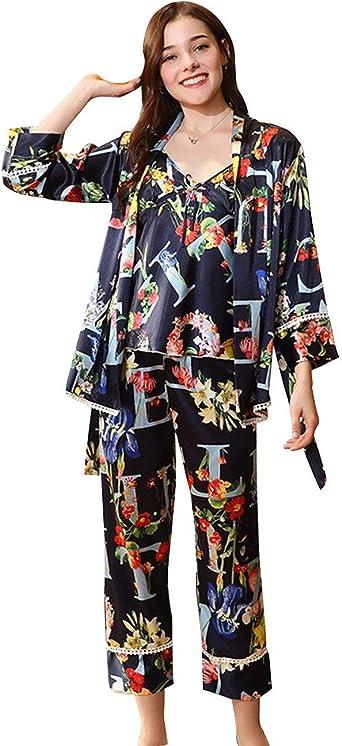 Conjunto De Pijama Mujer Primavera Otoño Satín Pijamas Mujer ...