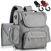 2018 Diaper Backpack By Poppy: Large Baby Nappy Bag W/ 4 Insulated Pockets, Stroller Straps, Changing Pad Multi-Function Travel Backpack, Stylish and Durable | Unisex Diaper Bag For Boys and Girls