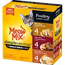 Meow Mix Simple Servings Poultry Variety Pack Wet Cat Food, 1.3 Ounce (Pack...