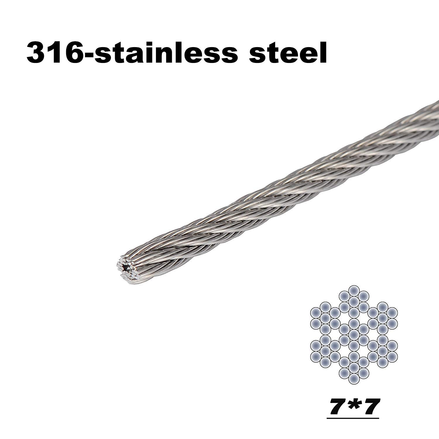 FOLUXING 316 Stainless Steel Wire Rope 1/8'' Aircraft Wire Rope Cable 7x7 for Railing Kit,Decking, DIY Balustrade(164Ft) by FOLUXING (Image #3)