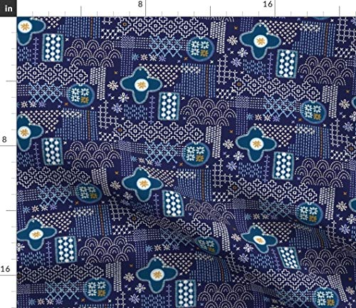 (Spoonflower Navy fauxboro Fabric - Geometric Collage Japanese Stitch Yarn Thread Embroidery Needlepoint Abstract by Pennycandy Printed on Organic Cotton Knit Ultra Fabric by The Yard)