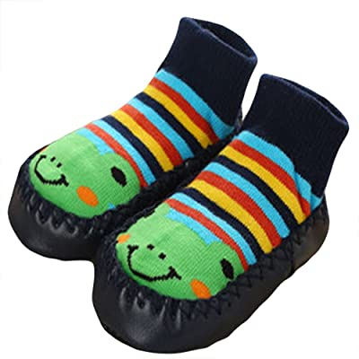 bf98bf40ddbf1 Cute Baby Boys Girls Toddlers Moccasins Non-Skid Indoor Shoes Socks Slippers  Frog
