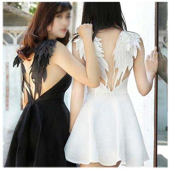 Large, Black Ancefine Women Sew on Angel Wing Neckline Lace Trim Applique