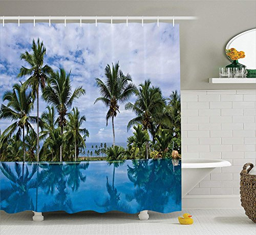 PAUSEBOLL House Infinity Pool Palm Tree Reflections Crystal Water in Tropical Resort Photo Blue Green White Shower Curtain Bathroom Hooks,Mildew Resistant Waterproof Polyester Curtain -