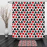 Vipsung Shower Curtain And Ground MatCasinos Collection Card Suits Pattern with Clubs Diamonds Hearts Spades Poker Gamble Theme Image Red Black WhiteShower Curtain Set with Bath Mats Rugs