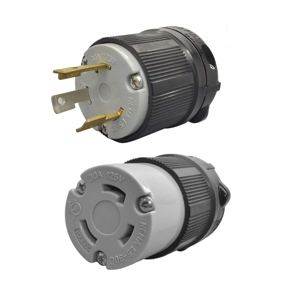 YuaDon UL Listed 125 Volt,30 Amp,NEMA L5-30 Sets, NEMA L5-30R, NEMA L5-30P,Locking Plug Receptacle,Grounding,2 Poles,3 Wires,Industrial Grade