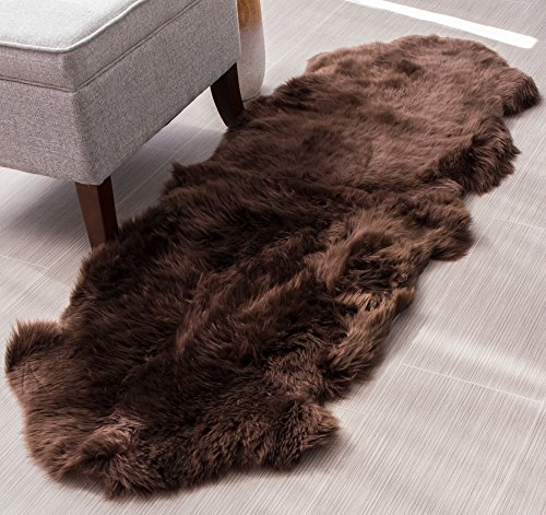 - Genuine Sheepskin Rug Two Pelt Brown Fur, Double