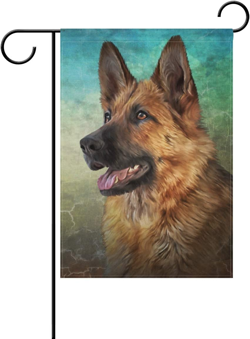 My Daily German Shepherd Dog Vintage Garden Flag 12 x 18 inch Double Sided Yard Flag Decorative Banner for Outdoor Lawn