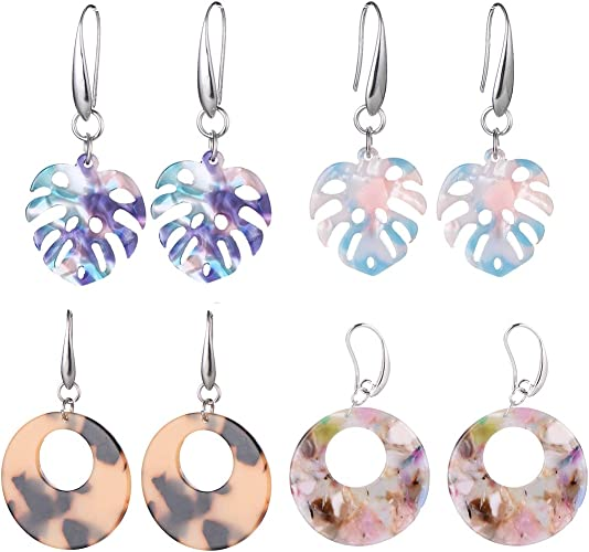 Acrylic Earrings for Women Bohemian Statement Drop Dangle Resin Stud Earrings Fashion Jewelry