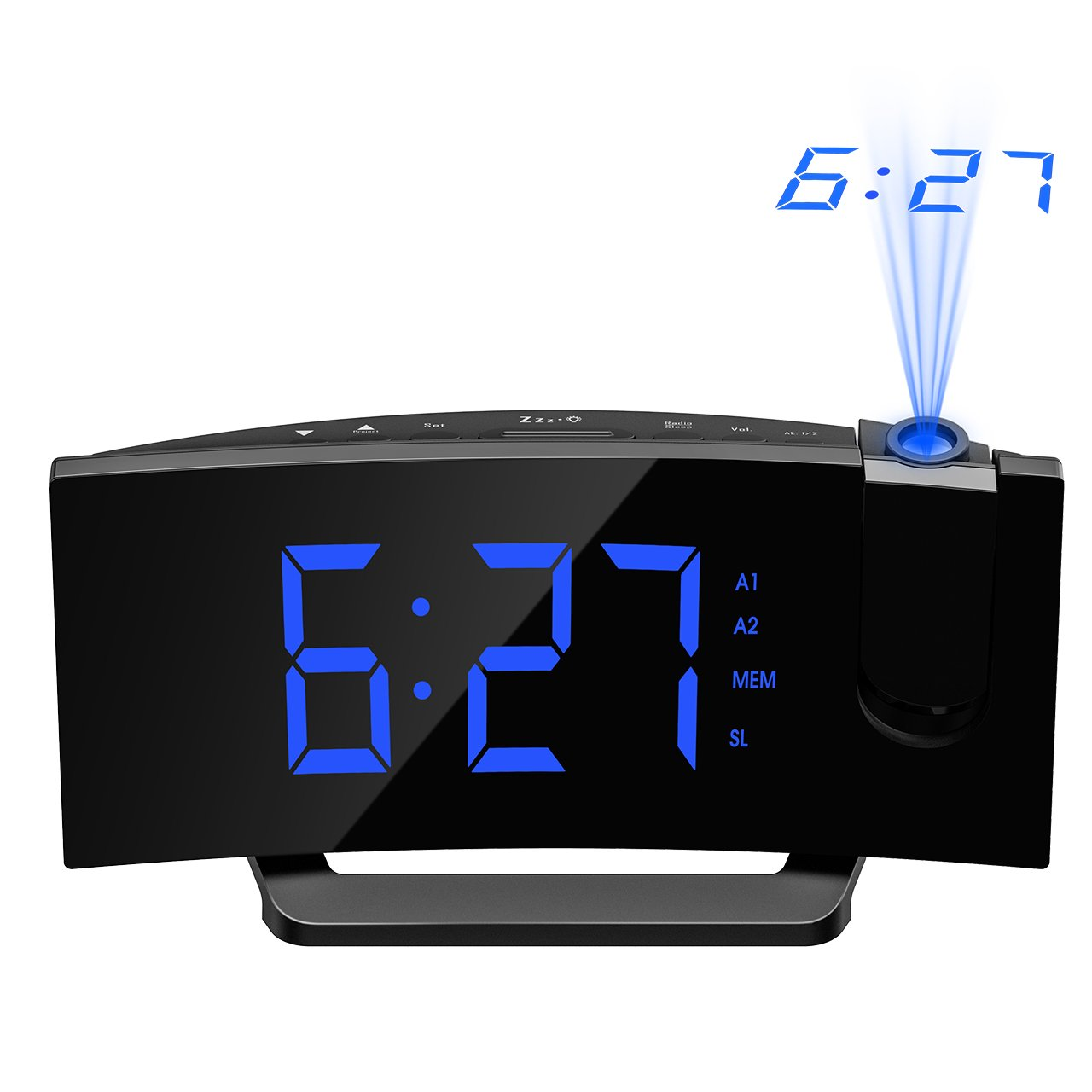 Mpow Projection Alarm Clock, Arc-shaped Projection Clocks with 5 Inch Dimmer LED Display, Digital Clock Radios for bedroom with Dual Alarm, 12/24 Hours, Backup Battery (Black-Blue)