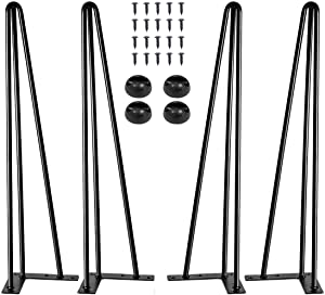 16'' Hairpin Legs Mid Century Modern for Coffee Table& Chair and Home DIY Furniture Projects,with Floor Protecter and Screws(Set of 4)