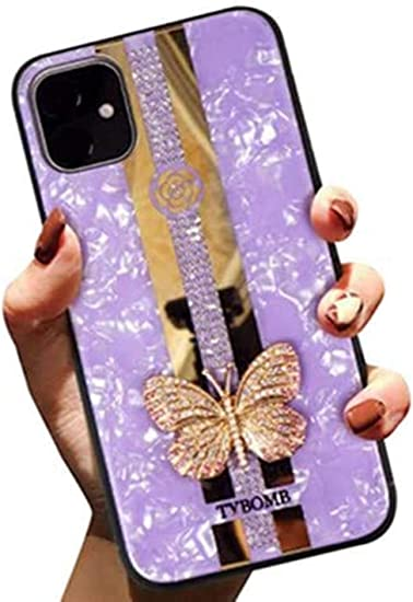 Aulzaju Case Compatible iPhone 12//iPhone 12 Pro Luxury Pretty Case for Girls iPhone 12 Pro Cute Hard Rhinestone Butterfly Design Bling Diamond Rugged Protective Case for iPhone 12 for Women 6.1 Pink