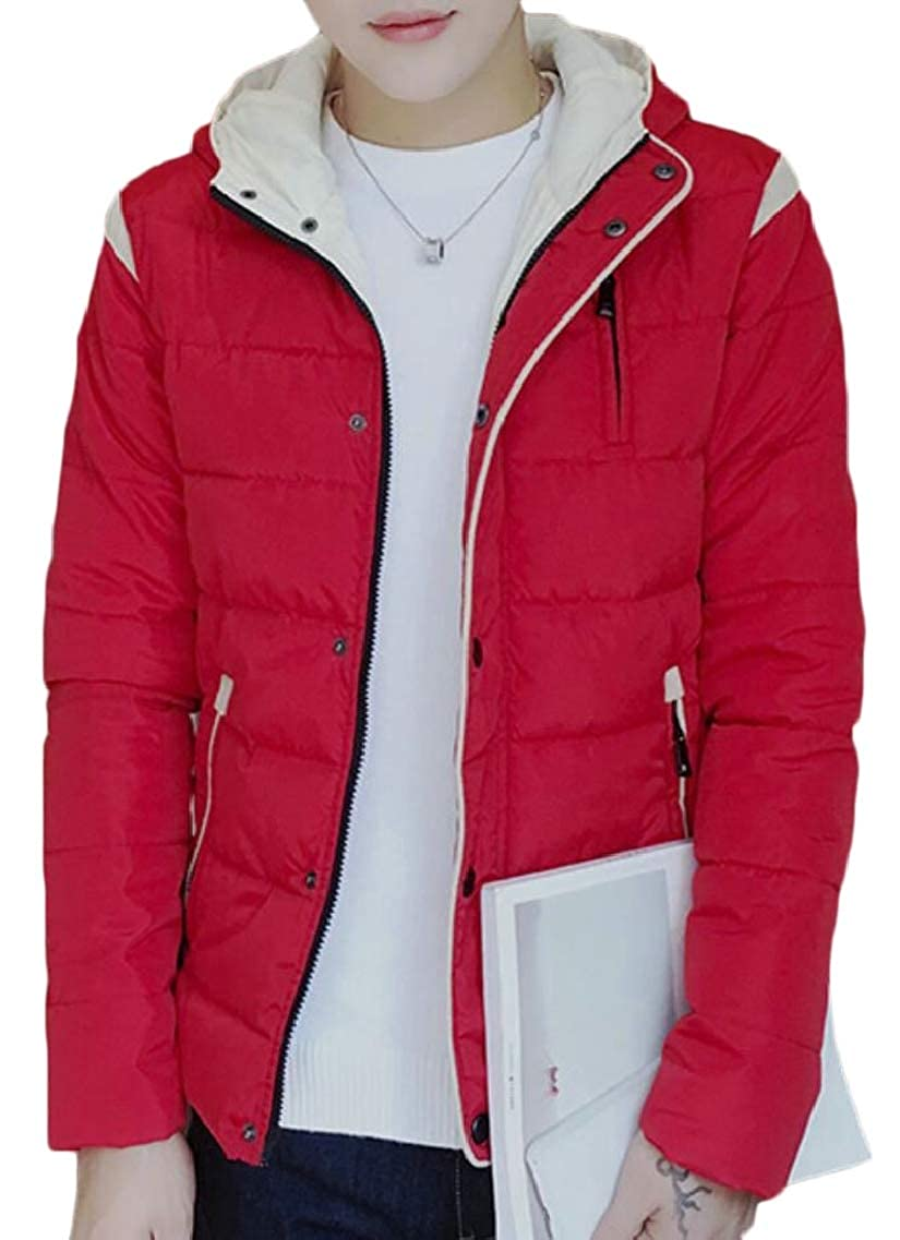 Red QD-CACA Mens Casual Front-Zip Hooded Hooded Hooded Padded Slim Thicken Winter Down Jacket Coat a1a502
