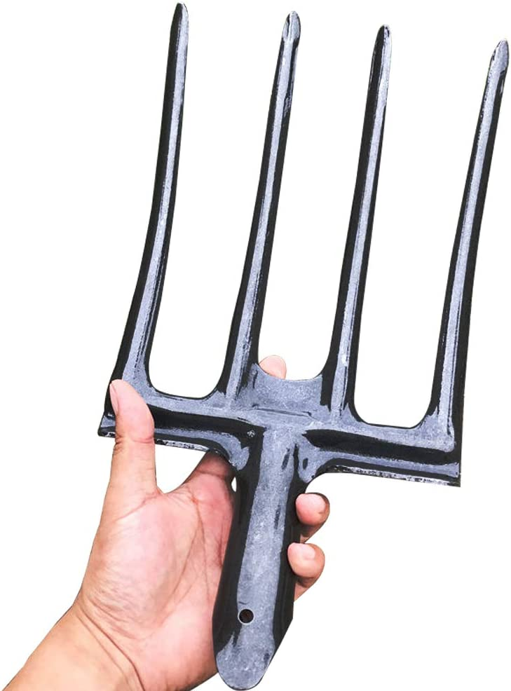 Lieber Potato Garden Folk Head, Spading Fork Head only, County Tools 4-Tine Gardening Fork   Steel Alloy Tines   Great for Compacted Soil (Head) (1 Pack)