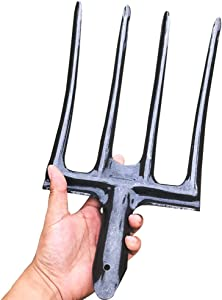 Lieber Potato Garden Folk Head, Spading Fork Head only, County Tools 4-Tine Gardening Fork | Steel Alloy Tines | Great for Compacted Soil (Head) (1 Pack)