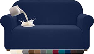Cherrypark High Stretch Couch Cover for 2 Cushion Couch Universal Waterproof 2 Seat Sofa Covers Non Slip Sofa Slipcovers with Elastic Hem Living Room Furniture Protector (Medium, Navy Blue)