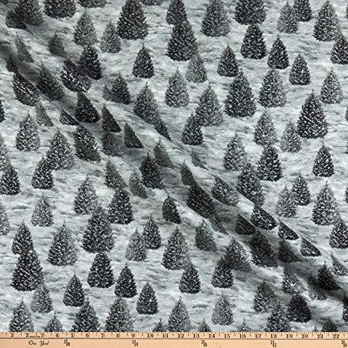 (Robert Kaufman Winter White Solstice Christmas Tree Grey, Fabric by the Yard)