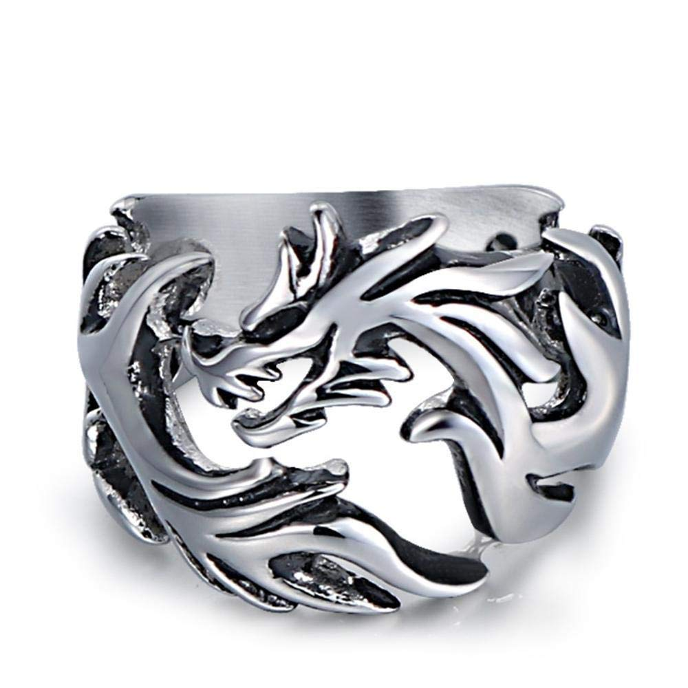 Dixinla Rings Steel , Mens Metal Punk Rock Style Stylish Domineering Pierced Titanium Steel Dragon Ring Jewelry Gift for Family or Friends by Dixinla