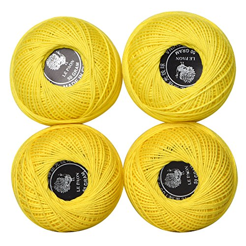 50gSize 3 Cotton Crochet Thread Balls,Cross Stitch Thread for Crochet,Embroidery/Sewing,100% Mericezed Cotton Floss (Color No.: (3 Crochet Yarn)