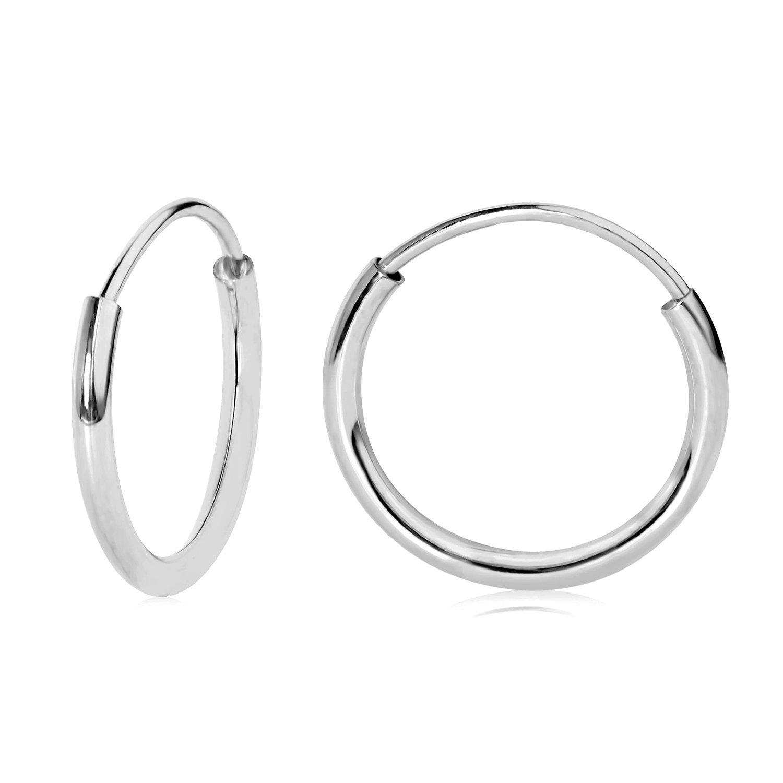 Amazon 14k White Gold Endless Hoop Earrings 10mm Jewelry