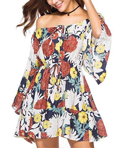 Ailunsnika Women Summer Boho Off Shoulder Slash Neck Floral Print Mini Dresses Flare Sleeve Pleated A Line Short Beach Dress Medium
